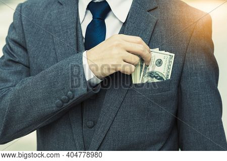 Unrecongnizable Businessman With Money In Suit Business Man Putting Money In Pocket Suit Rich Guy Ea