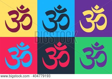 Pop Art Om Or Aum Indian Sacred Sound Icon Isolated On Color Background. The Symbol Of The Divine Tr