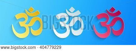 Paper Cut Om Or Aum Indian Sacred Sound Icon Isolated On Blue Background. The Symbol Of The Divine T