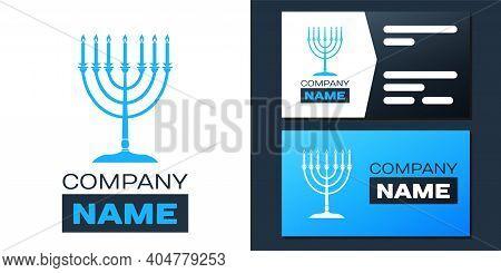 Logotype Hanukkah Menorah Icon Isolated On White Background. Religion Icon. Hanukkah Traditional Sym