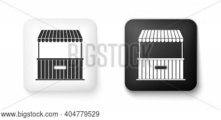 Black And White Street Stall With Awning And Wooden Rack Icon Isolated On White Background. Kiosk Wi