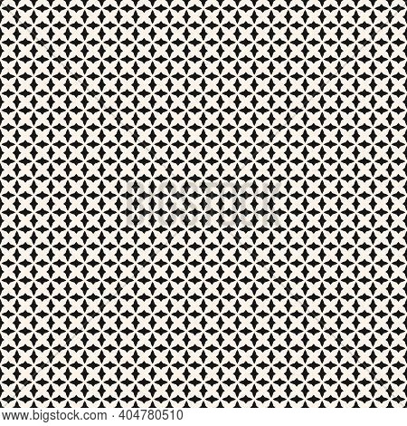 Black And White Geometric Seamless Pattern With Small Curved Shapes, Diamonds, Grid, Mesh, Net, Repe