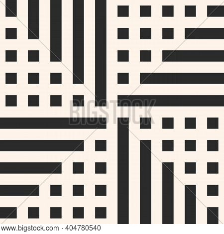 Simple Vector Geometric Seamless Pattern With Squares And Lines. Abstract Black And White Geometrica
