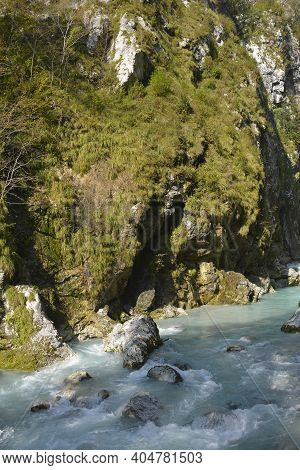 The Tolminka River Flowing Through Tolmin Gorge In The Triglav National Park, North Western Slovenia