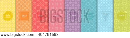Rainbow Vector Geometric Seamless Patterns Collection. Set Of Bright Colorful Backgrounds With Elega
