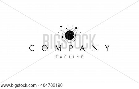 Vector Logo On Which An Abstract Image Of Outer Space Against The Background Of Stars, Planets And O