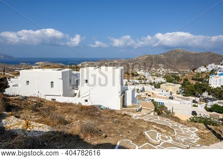 Summer Villas With Sea View In Chora Town Of Ios. Ios Island Is A Popular Tourist Destination In The