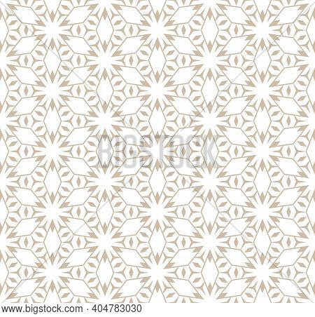 Abstract Vector Geometric Seamless Pattern. Golden Lines Texture, Elegant Floral Lattice, Mesh, Grid