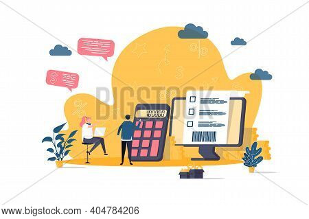 Accountant Concept In Flat Style. Financial Balance Calculation Scene. Business Accounting And Audit