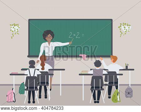 African Female Math Teacher Explaining Multiplication To Elementary School Pupils Or Children Near C