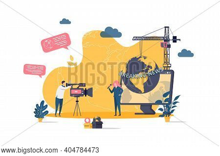 Journalist Concept In Flat Style. Journalist And Cameraman Making Breaking News Reportage Scene. Tv