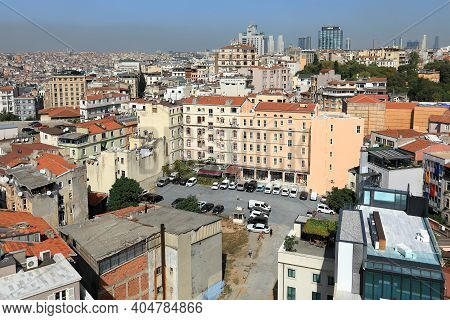 Istanbul, Turkey - October 07, 2020. Skyline Of Istanbul. View To The North From The Galata Tower. B