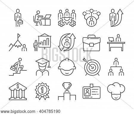 Career Icon. Career Development Line Icons Set. Vector Illustration. Editable Stroke.