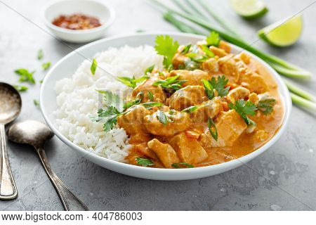 Chicken Curry With Rice, Served With Cilantro And Green Onion