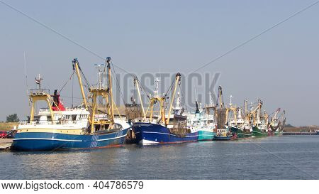 Texel, Netherlands - September 2013: Traditional Dutch Fishing Ships In The Habror Of Oude Schild At