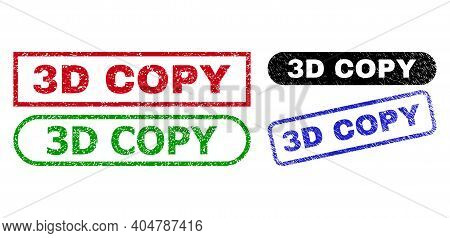 3d Copy Grunge Seal Stamps. Flat Vector Distress Seal Stamps With 3d Copy Phrase Inside Different Re