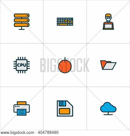 Hardware Icons Colored Line Set With Floppy Disk, Computer Keyboard, Folder And Other Database Eleme