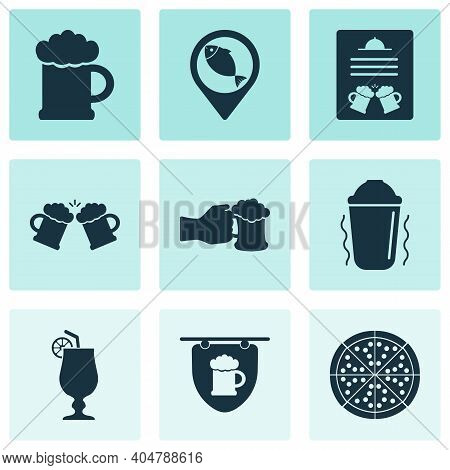 Drink Icons Set With Beer, Beer Mug, Shaker In Action And Other Ale Mug Elements. Isolated Vector Il