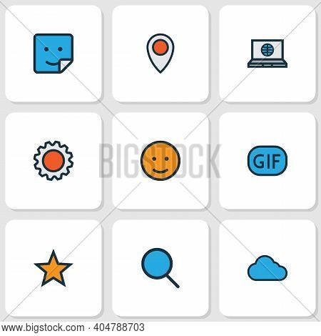 Communication Icons Colored Line Set With Settings, Location, Emoji And Other Overcast Elements. Iso