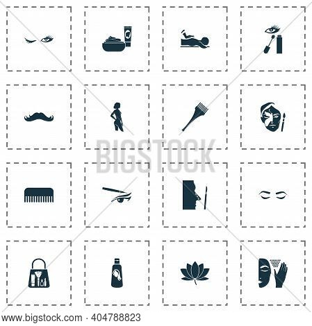 Glamour Icons Set With Face Cream, Eyeliner, Moustache And Other Therapist Elements. Isolated Vector