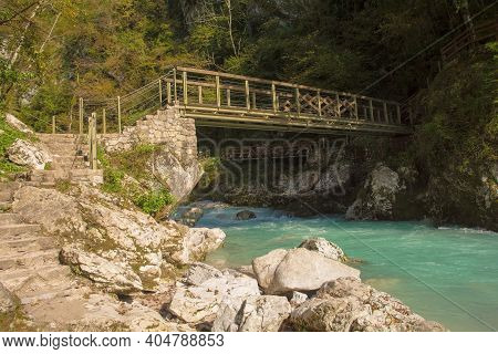 The Lower Devil's Bridge Crossing The Tolminka River Which Flows Through Tolmin Gorge In The Triglav