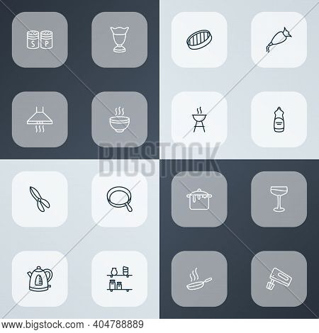 Cook Icons Line Style Set With Sieve, Kitchen Shelves, Barbecue And Other Shears Elements. Isolated