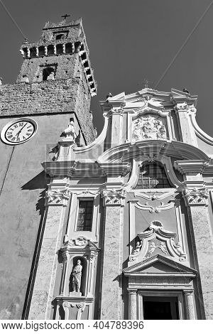 Belfry And Baroque Facade Of An Historic Church In The Town Of Pitigliano, Italy, Monochrome