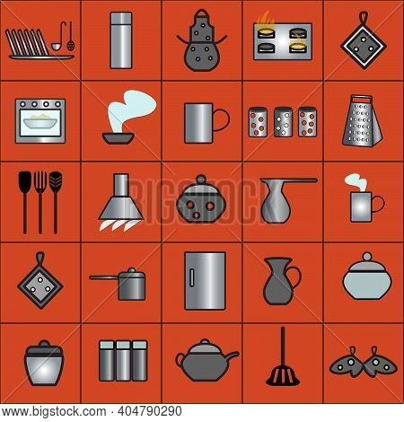Kitchen Tools Made Of Metal And Clay.  Isolated Vector Flat Icons On Red Background.