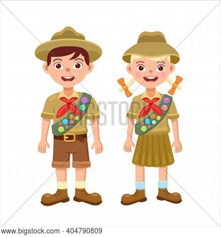 Boy And Girl Scouts In Scout Uniforms. Vector Flat Illustration.
