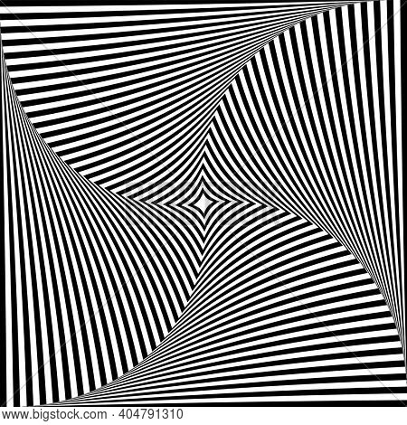 Abstract op art design. Whirl rotation movement. 3D illusion.