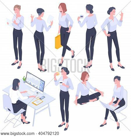 Flat Design Isometric Young Women Characters Poses, Gestures And Activityes Set. Office Working, Lea