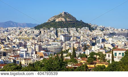 Panorama Of Athens And Mount Lycabettus, View From Acropolis Slope, Greece. Skyline And Cityscape Of