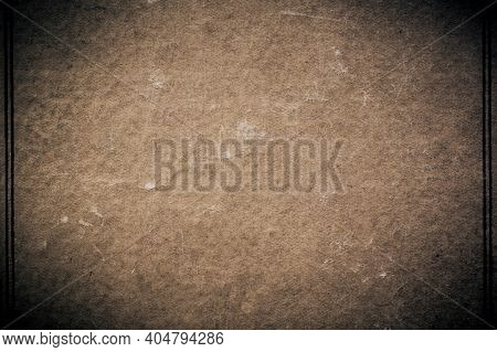 Vintage Abstract Background With Frame With Dark Vignette Texture Of Shabby Yellowed Brown Cardboard