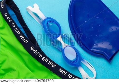 Blue Baby Swimming Cap, Baby Goggles For The Pool, Swimming Trunks With A Cheerful Inscription, Blue