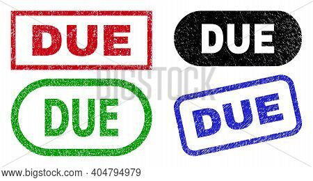 Due Grunge Watermarks. Flat Vector Distress Watermarks With Due Tag Inside Different Rectangle And R