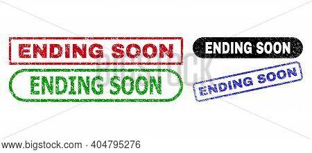 Ending Soon Grunge Seal Stamps. Flat Vector Grunge Stamps With Ending Soon Text Inside Different Rec