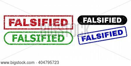 Falsified Grunge Seal Stamps. Flat Vector Grunge Watermarks With Falsified Phrase Inside Different R
