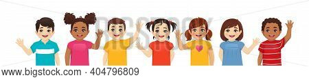 Smiling Kids Boys And Girls Waving Hands Set Isolated Vector Illustration. Multiethnic Little Childr