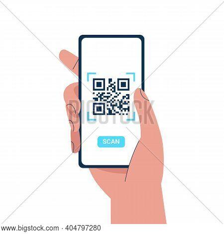Man Hand Holding A Phone And Scanning Qr Code. Barcode Scanner Technology. Flat Vector Cartoon Illus