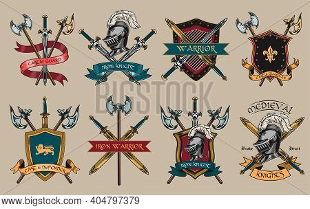 Medieval Knights Accessories Set. Armors, Swords, Helmets, Shields, Axes Illustrations Isolated On B