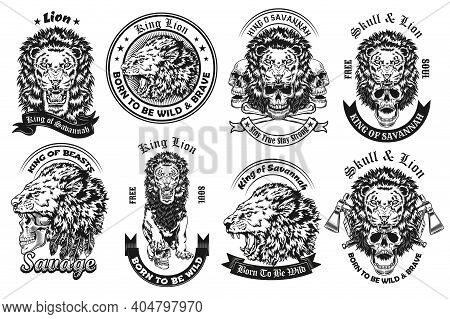 Monochrome Lion With Skull Labels Vector Illustration Set. Retro Emblems With Lion Growling And Biti
