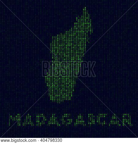 Digital Madagascar Logo. Country Symbol In Hacker Style. Binary Code Map Of Madagascar With Country