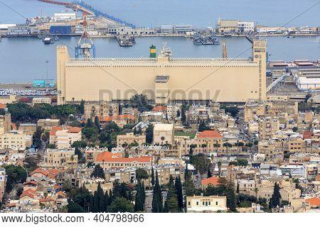 Panoramic View Of The Port In Haifa, Israel.