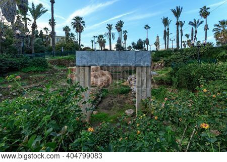 Excavation, Gate Of Times Of The Pharaoh Ramesses Ii. Yaffo, Israel