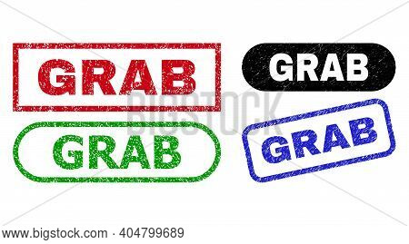 Grab Grunge Seal Stamps. Flat Vector Scratched Seal Stamps With Grab Caption Inside Different Rectan