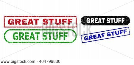 Great Stuff Grunge Watermarks. Flat Vector Distress Seals With Great Stuff Slogan Inside Different R
