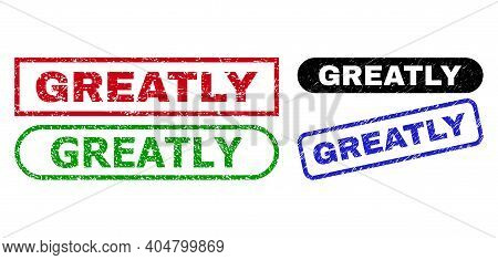 Greatly Grunge Seal Stamps. Flat Vector Grunge Stamps With Greatly Text Inside Different Rectangle A
