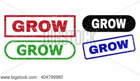 Grow Grunge Watermarks. Flat Vector Textured Watermarks With Grow Title Inside Different Rectangle A