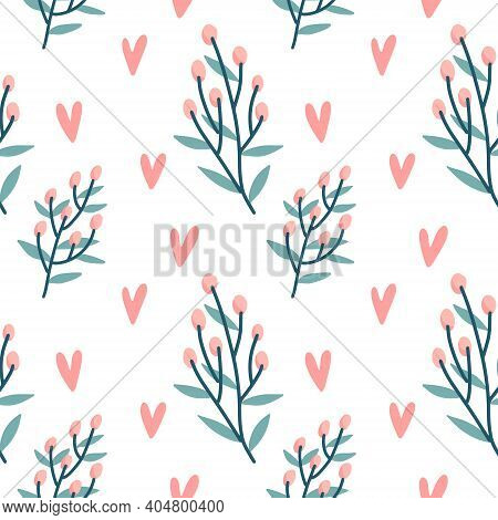 Seamless Pattern Of Hearts, Holly Berries Branch On A Transparent Background. Vector Hand Drawn Illu