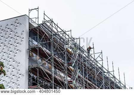 Berlin, Germany - July 30, 2019: New Facade Restoration For Thermal Insulation In Residential Buildi